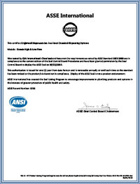 ASSE certificate image